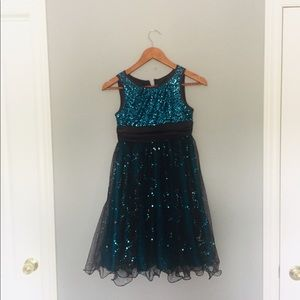 Blue and Brown Sequinned Dress